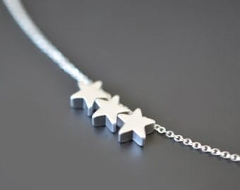 30% OFF, Mini star silver necklace, Wedding jewelry, Bridal necklace, Bridesmaid necklace, Anniversary gift, Valentine's gift,Christmas gift