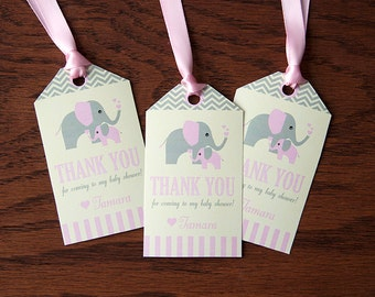 Elephant Baby Shower Favor Tags - Girl Baby Shower Decorations - Pink, Grey & Cream - DIY Printable PDF File - PERSONALIZED