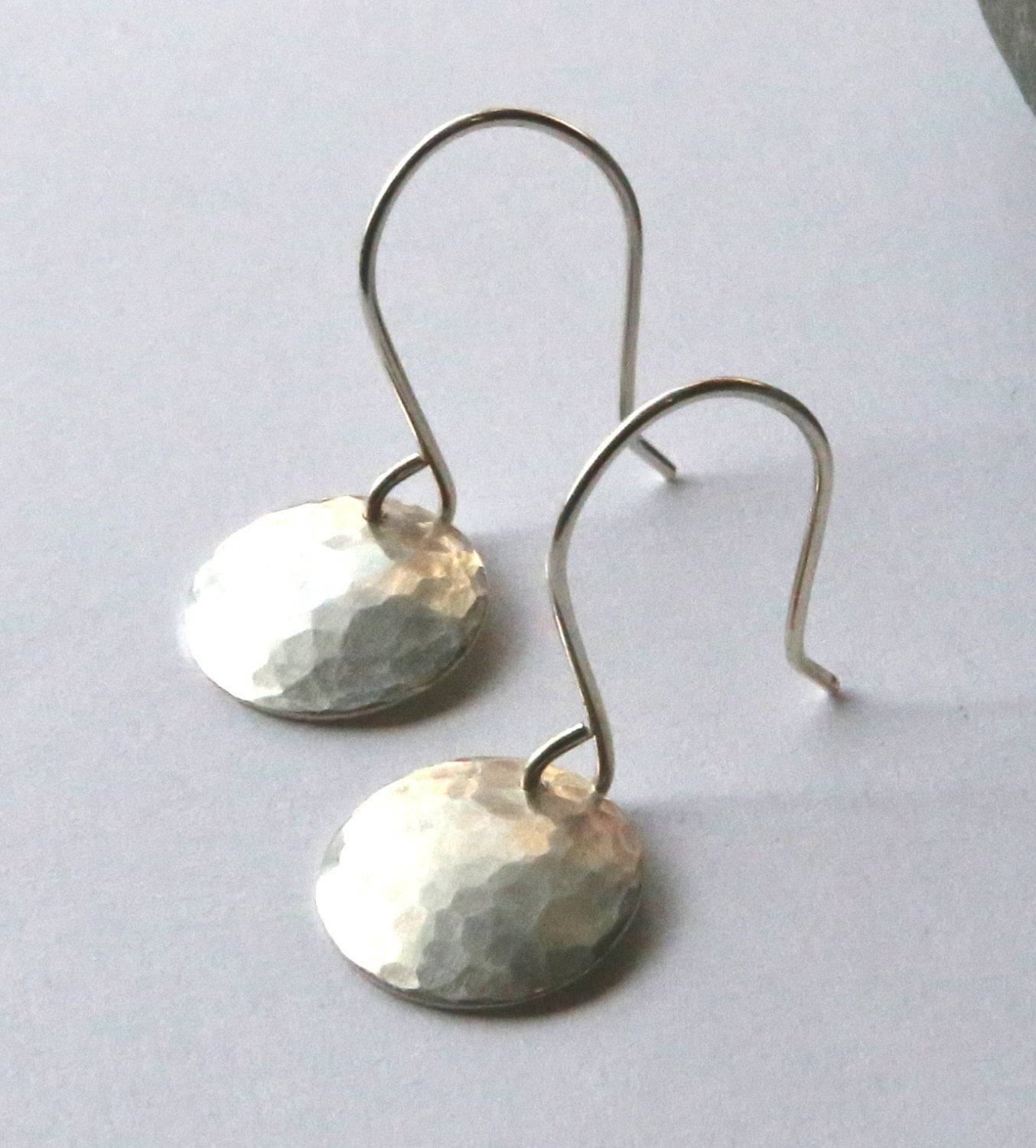 Small hammered silver disc earrings simple round silver