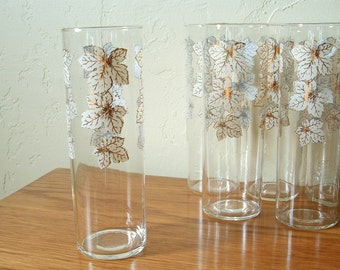 Vintage Tom Collins Glasses Set of 6 Mid Century Highball Maple Leaves Iced Tea Gold White