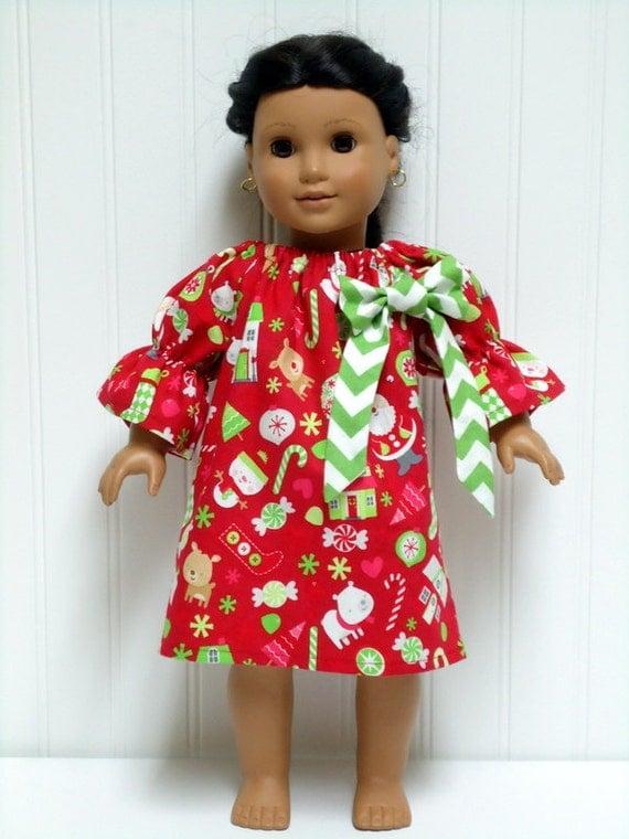 18 inch doll clothes christmas peasant dress santa snowman green