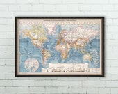 Old map of the world -  Vintage map  reproduction -  Map  published in 1900 by Larousse