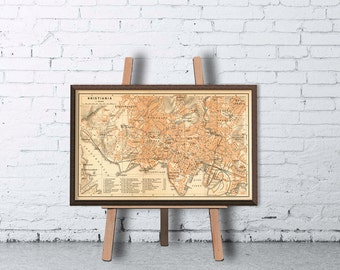 Oslo map - Kristiania map - Old map of Oslo print - Archival print