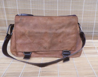 Vintage Lady's Beige And Brown Textile Leather Like Hobo Bag Purse