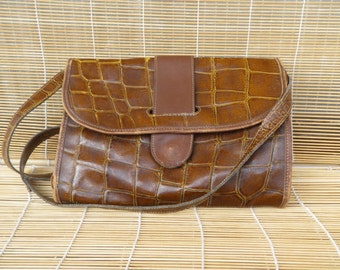 Vintage Lady's Brown Printed Leather Small Size Hand Bag Shoulder Purse