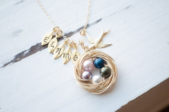 Bird Nest Necklace with Choose Your Family Size | Stamped Leaf Initials | 14k Gold Filled Necklace | Handmade Swirled Nest | Protective Mama