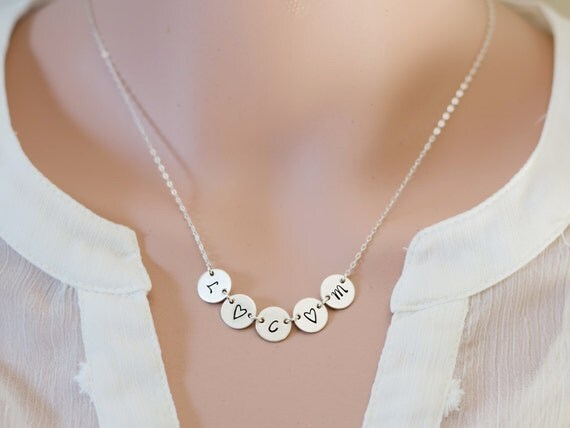 Stamped Sterling Silver Initial Necklace | Hand Stamped Letter Necklace | Word Necklace | Tag Disc Necklace | Mom of 5 | Family of Five