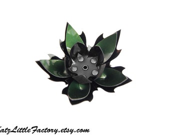 Large Cyber Flower in Black and Green Metallic PVC Spiky Studded Hairpiece Gothic Industrial Hair Clip