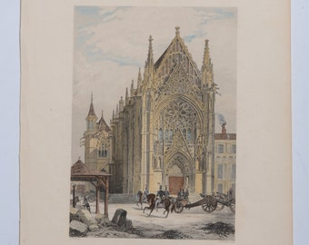 Engraving Print ca 1850 The Chapel of Vincennes, France, Hand Colored