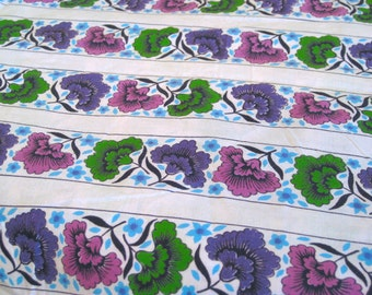 "Vintage Fabric - Flowers - Purple & Pink - By the Yard x 36""W - 1950's - Retro Sewing Material - Yardage - Craft Supply"