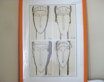 Mid Century Linoleum Block Print - Ancient God Faces - Bright Orange Frame - Not Signed - Vintage 1960's Art