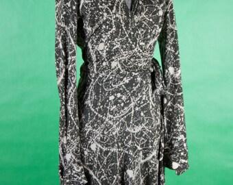 1970s Diane Von Furstenberg Paint Splatter Wrap Dress