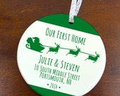 Our First Home Christmas Ornament - Santa Sleigh - Personalized Porcelain Housewarming Holiday Gift - orn398 - Peachwik - Reindeer Games
