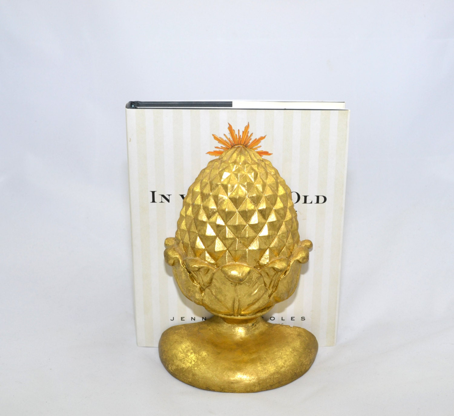 Pineapple decor pineapple home decor pineapple bookends gold for Household decorative items