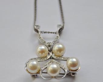 Diamond 1940s Art Nouveau Revival Modernist Vintage Solid Gold and Pearl Fascinator Pendant Brooch