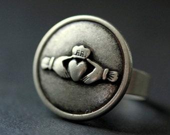 Claddagh Ring. Claddagh Button Ring. Silver Button Ring. Adjustable Ring. Silver RIng. Handmade Ring. Claddagh Jewelry. Irish Jewelry.