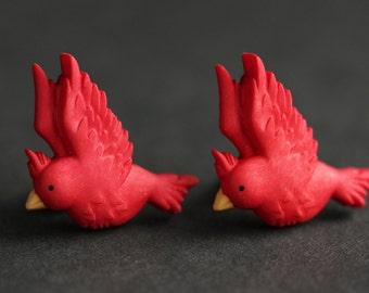 Red Bird Earrings. Red Cardinal Earrings. Red Earrings. Bronze Earrings. Bird Jewelry. Nature Jewelry. Handmade Earrings.