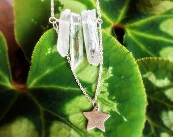 Bohemian Clear Quartz necklace. Raw Crystal Geode Sterling Silver Star Chain. Mineral Stone Pendant Gemstone Natural Rock. April Birthstone