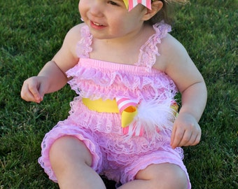 Pink Lemonade Outfit -  Pink Lemonade Birthday Romper - Pink and Yellow Romper
