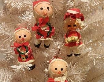 Christmas Elves Papier Mache Ornaments Vintage