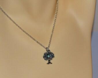 Tree Necklace, Tree of Life Charm, Oak Tree Necklace, Silver Tree Necklace, Oak Tree Necklace, Crystal Bead Tree, Tree Jewelry, Nature Lover