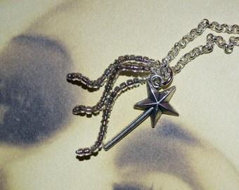 Fairy Wand Necklace, Magic Wand Pendant, Fairytale Jewelry, Wand Necklace, Pretty Necklace, Magic Necklace, Fairy Jewelry, Magical Necklace