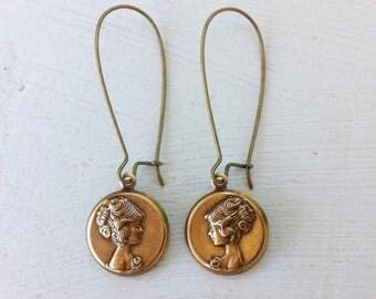 Cameo Earrings/Boho Earrings/Parisian Chic Earrings/Bohemian Earrings/Boho Chic Earrings/Mothers Day Gift/Romantic Earrings/Dainty Earrings