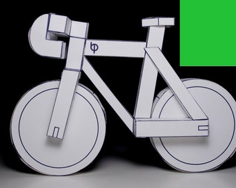 GREEN paperbikes v2 - fixed gear paper bike - papercraft bicycle model kit