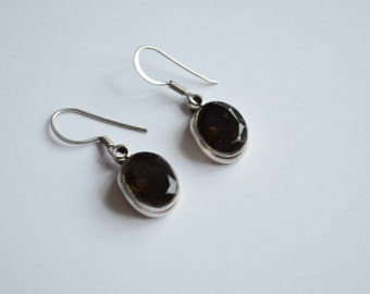 SALE Vintage Sterling Silver and Black Glass or Stone Dangle Pierced Earrings