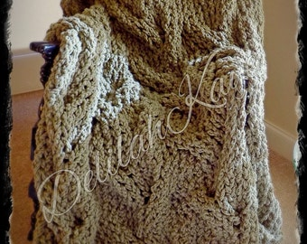 Ready To Ship ~ Super Chunky Cable Knit ~ Taupe ~ Tan ~ Throw Blanket Afghan