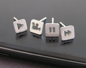 Media Icons Earrings - Square Studs - Play Pause Arrow Triangle  - Geometric Jewelry - Sterling Silver Jewelry