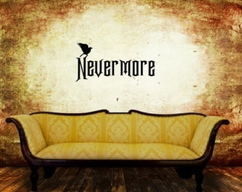 Raven Nevermore Decal - Halloween Decor - Removable Vinyl Wall Decal - Nevermore with Raven  22468