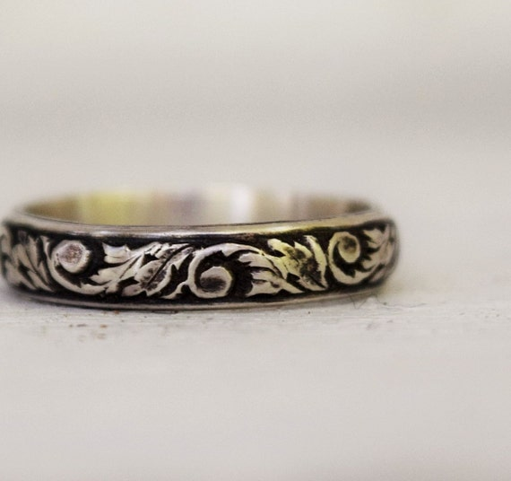 Sterling Silver Floral Wedding Band - Handcrafted Metalwork - Stacking Ring - Simple Band -  Bohemian - Scrollwork Pattern - Antiqued
