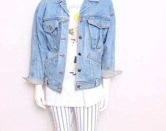 MOVING SALE - Vintage Nineties Faded Anchor Blue Denim Blue Jean Jacket