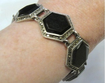 Black Onyx and Sterling Silver Bracelet with Marcasites - 66 CTW Onyx - Vintage