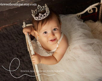 Princess Photo Prop Toddler Rhinestone Crown Baby Tiara Baby Crown Headband Newborn Headband Princess Crown Full Rhinestone Crown Headband
