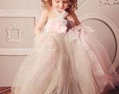 Flower Girl Tutu Dress Gray Blush Pink Shabby Chic Gown