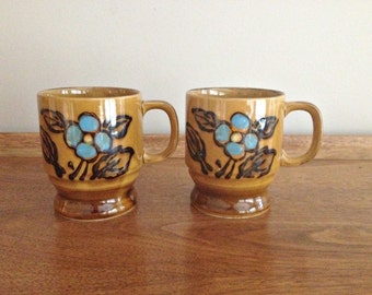 Retro 70s Coffee Cups Pottery Mugs