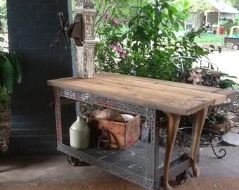 Industrial Wine Cart Island Counter on Wheels