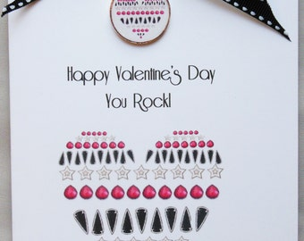 Unique Edgy Valentine Heart Greeting Card & Necklace