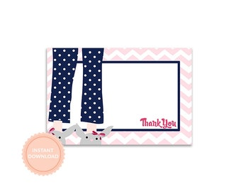 INSTANT DOWNLOAD, CHEVRON Pancakes & Pajamas-Printable Thank You Note - As Seen on Amy Atlas Events