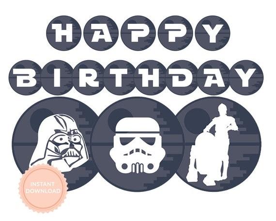 ... Banner (Star Wars party, Darth Vader, Stormtrooper, Printable Happy