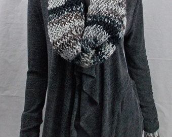 Extra Long Black and Brown Infinity Scarf