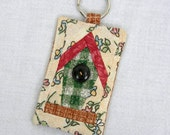 Handmade Miniature Piecework Spring Bird House Key Ring Key Fob with Vintage Button