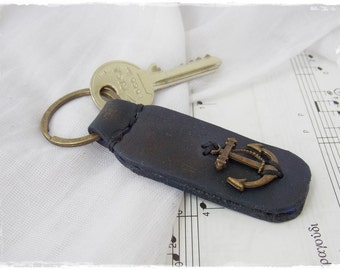 Nautical Leather Key-Chain,  Anchor Leather Keychain, Navy Key-Chain, Rustic Leather Key Ring, Sailor's Key Fob, Men's Leather Keychain