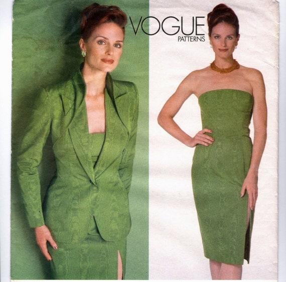 Alexander McQueen for Givenchy strapless dress & jacket pattern -- Vogue Paris Original 2086