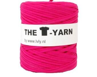 The t-shirt yarn 120-135 yards, 100% recycled cotton tricot yarn, fuchsia 99