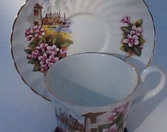Vintage Royal Stuart Bone China Nova Scotia  Mayflower Cup and Saucer