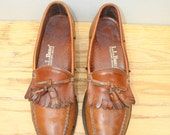 Sz 9.5B LL BEAN Vintage Brown Tassel Loafer Shoes WOMEN