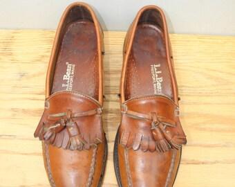 Sz 9.5B LL BEAN Vintage Brown Tassel Loafer Shoes WOMEN